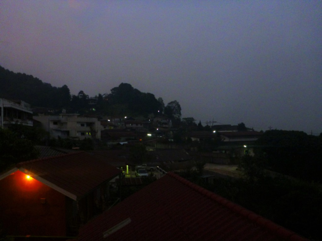 The dusk view from our guesthouse.