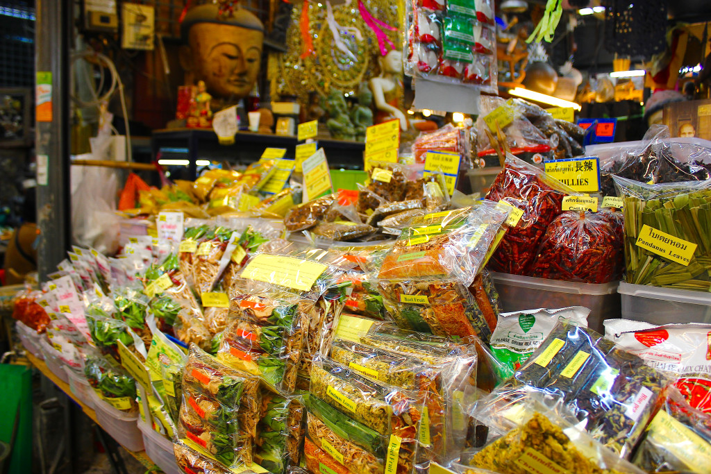 Dried chillies and spices on sale at Chatuchak market.
