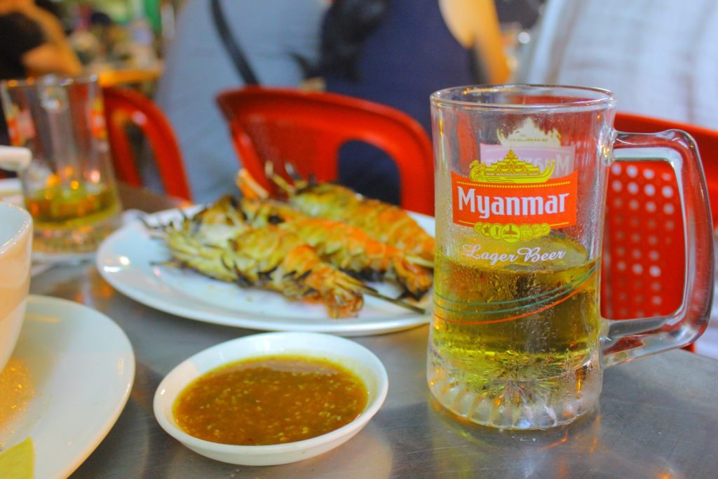 Plastic plates, stainless steel tables, beer and river prawns. What more could you ask for! 19th Street, Yangon.