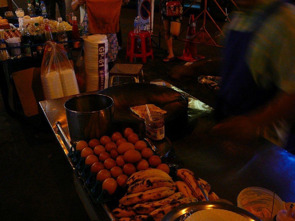 Late banana roti vendor on Khao San Road, Bangkok.
